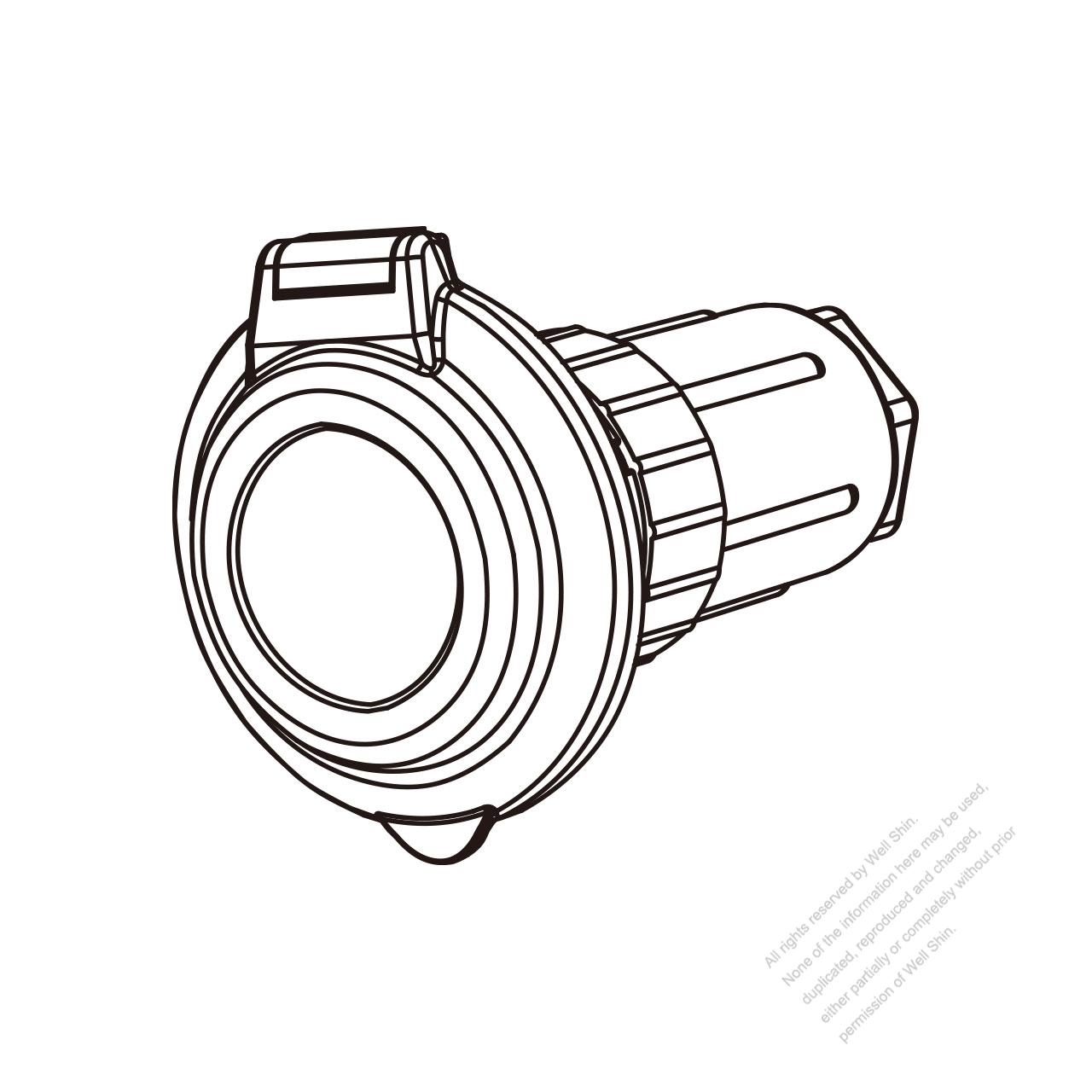 Tw Marine Grade Twist Locking Inlet Nema Ss2 50p Contoured