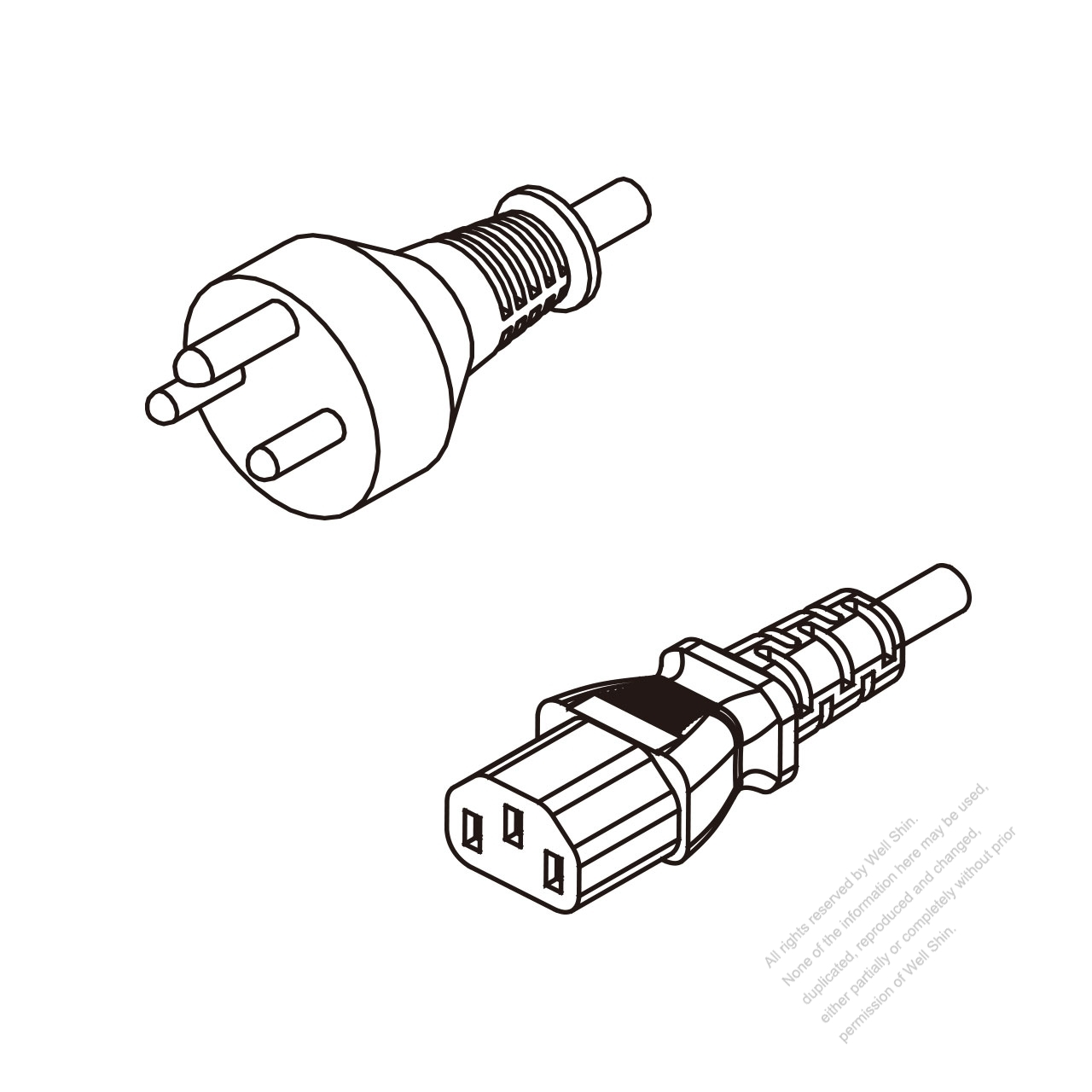 Denmark 3 Pin Plug To Iec 320 C13 Ac Power Cord Set