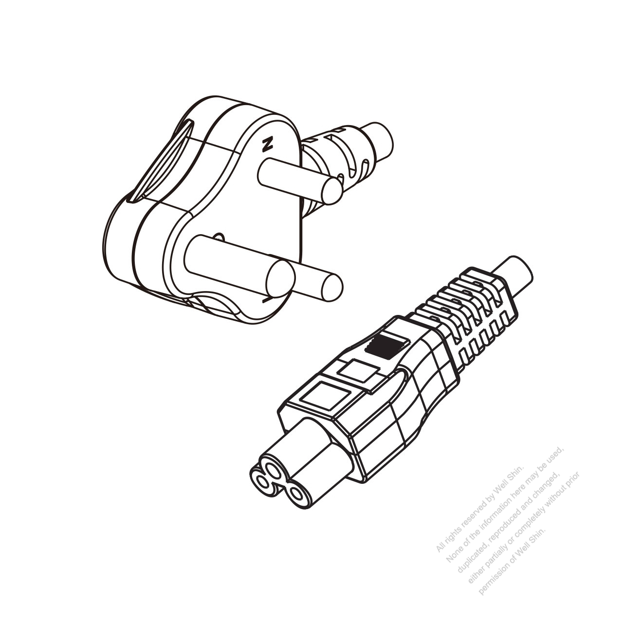 India 3 Pin Angle Type Plug To Iec 320 C13 Power Cord Set