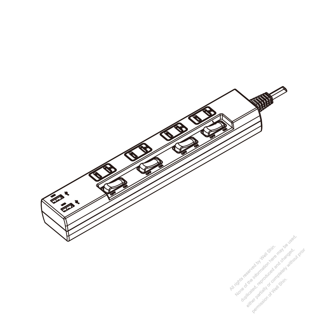 Japanese Type Power Strip Usb 2 Pin Outlet X 4 Switch X