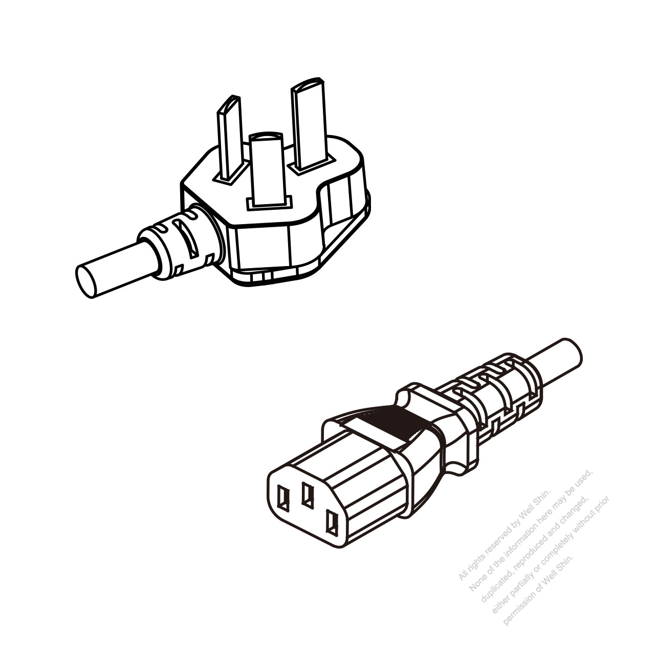 China 3 Pin Plug To Iec 320 C13 Ac Power Cord Set Molding