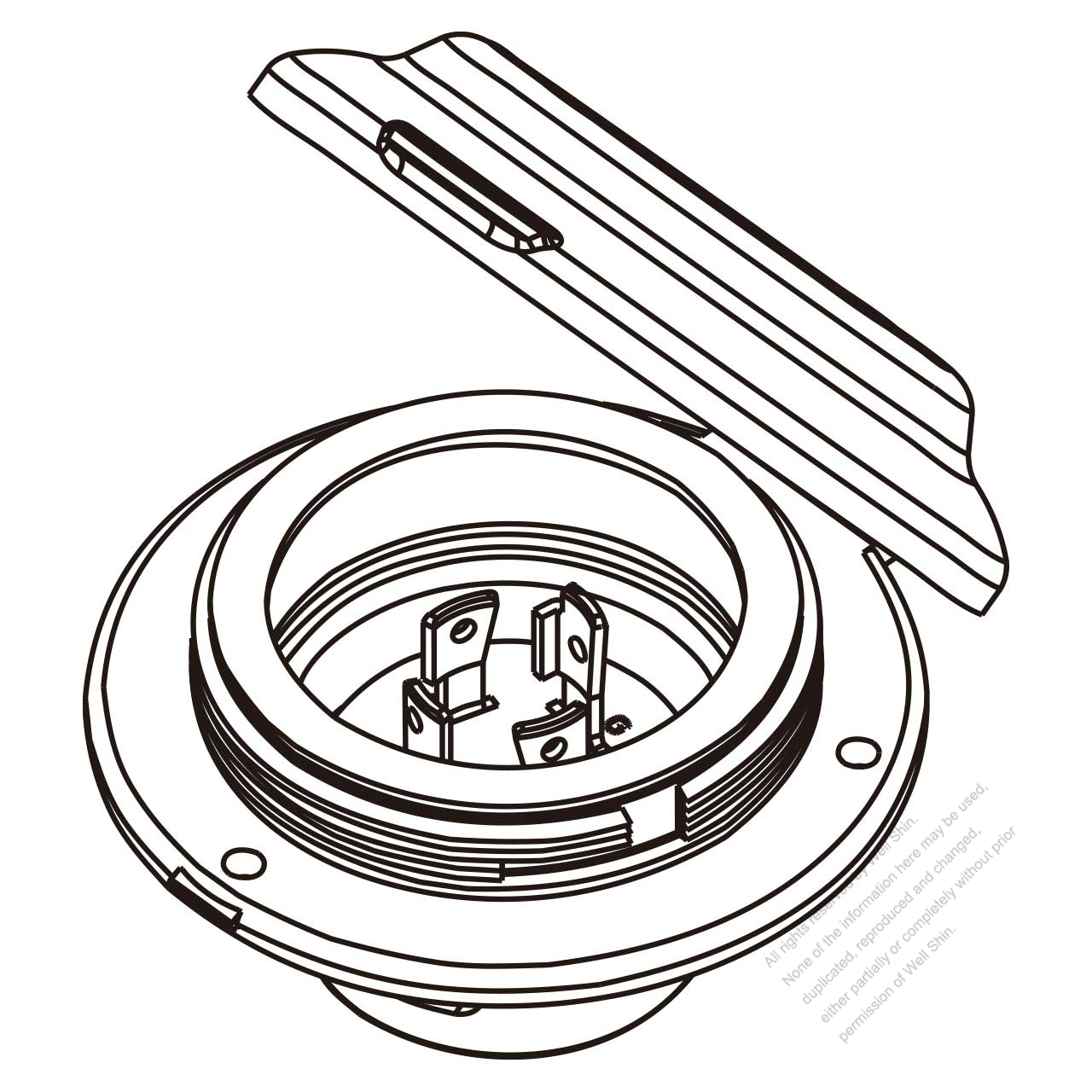 Usa Canada Locking Flanged Inlet Nema L15 30p 3 P 4 Wire