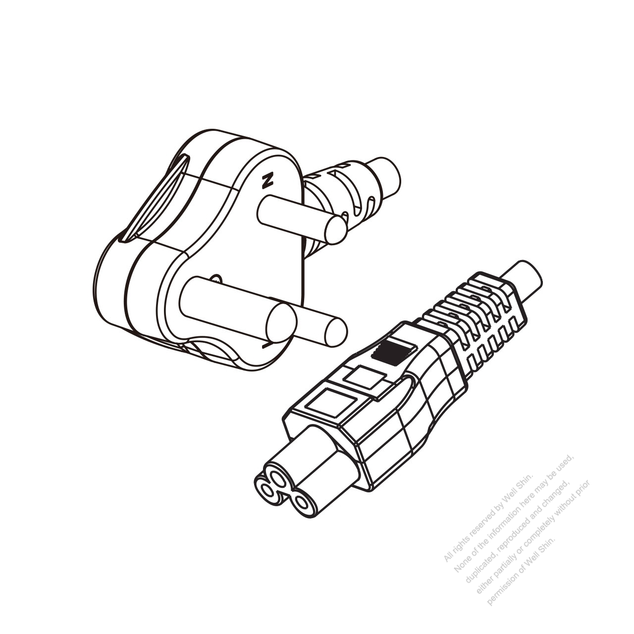India 3 Pin Angle Type Plug To Iec 320 C5 Power Cord Set