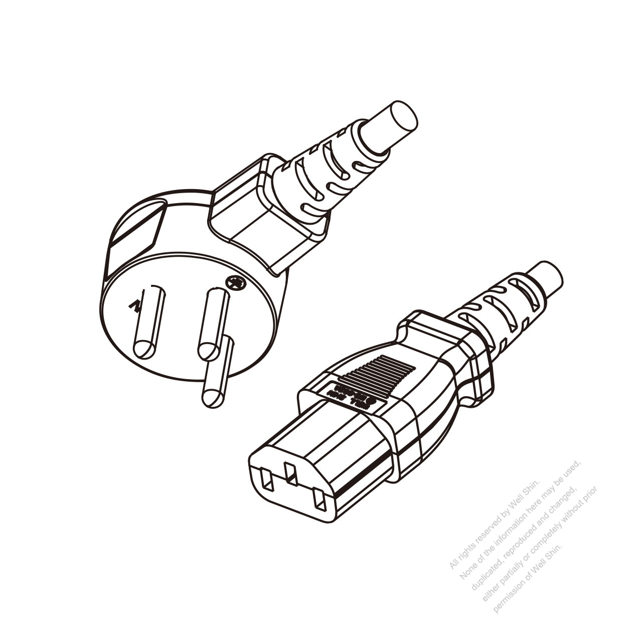 Israel 3 Pin Angle Type Plug To Iec 320 C13 Power Cord Set