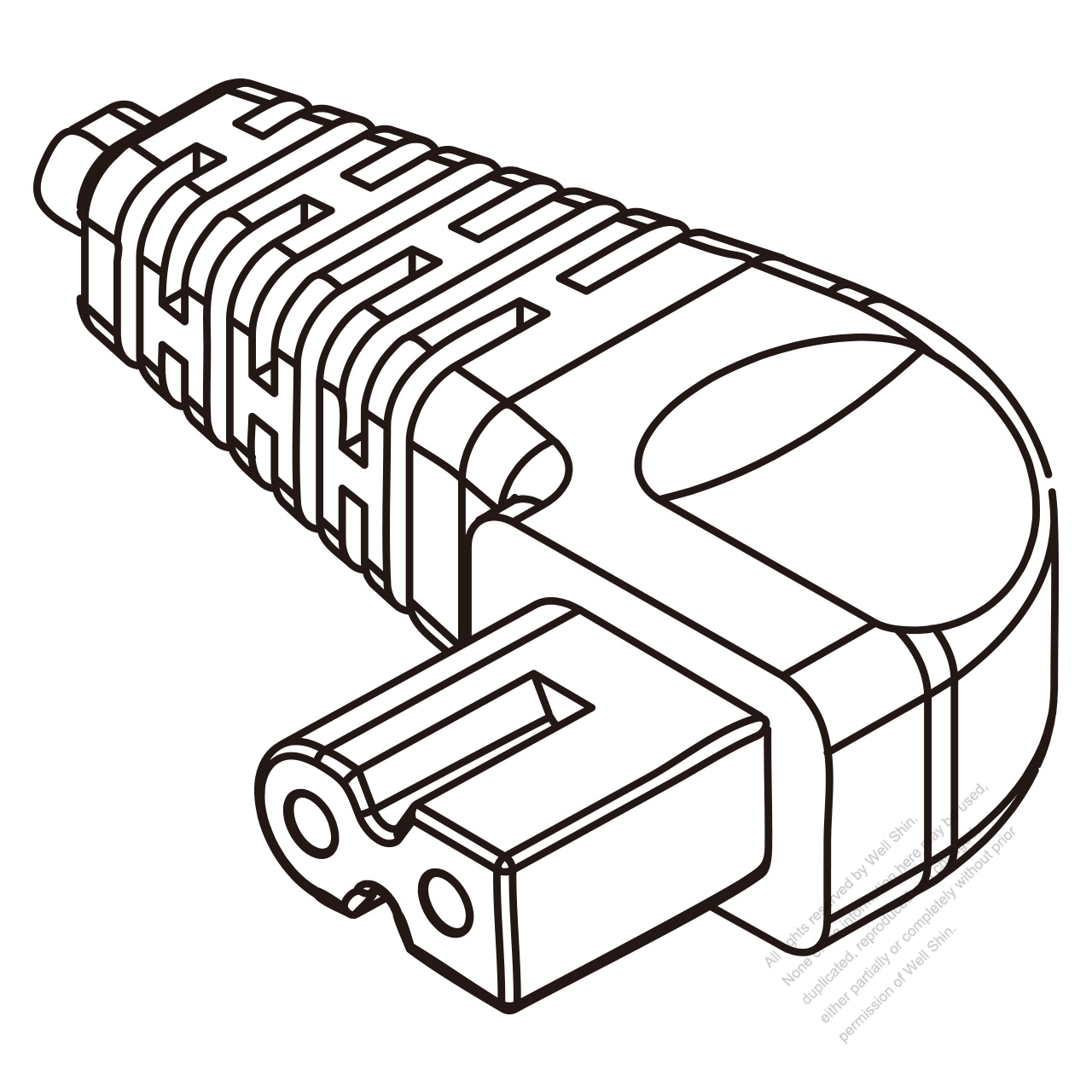 Iec 320 C7 Connectors 2 Pin Angle 2 5a 250v
