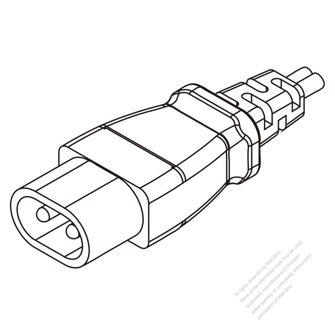 Japan Iec 320 C1 Plug Connectors 2 Pin 0 2a 125v