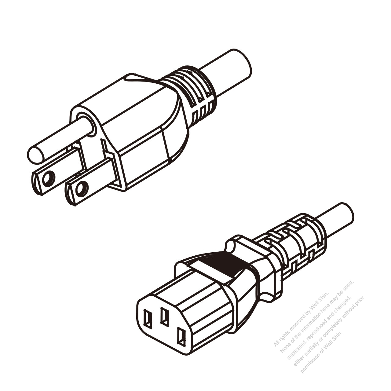 Taiwan 3 Pin Plug To Iec 320 C13 Ac Power Cord Set Molding