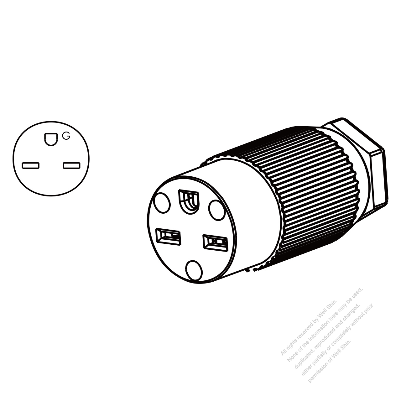 Usa Canada Connector Nema 6 15r 3 Pin Straight 2 P 3