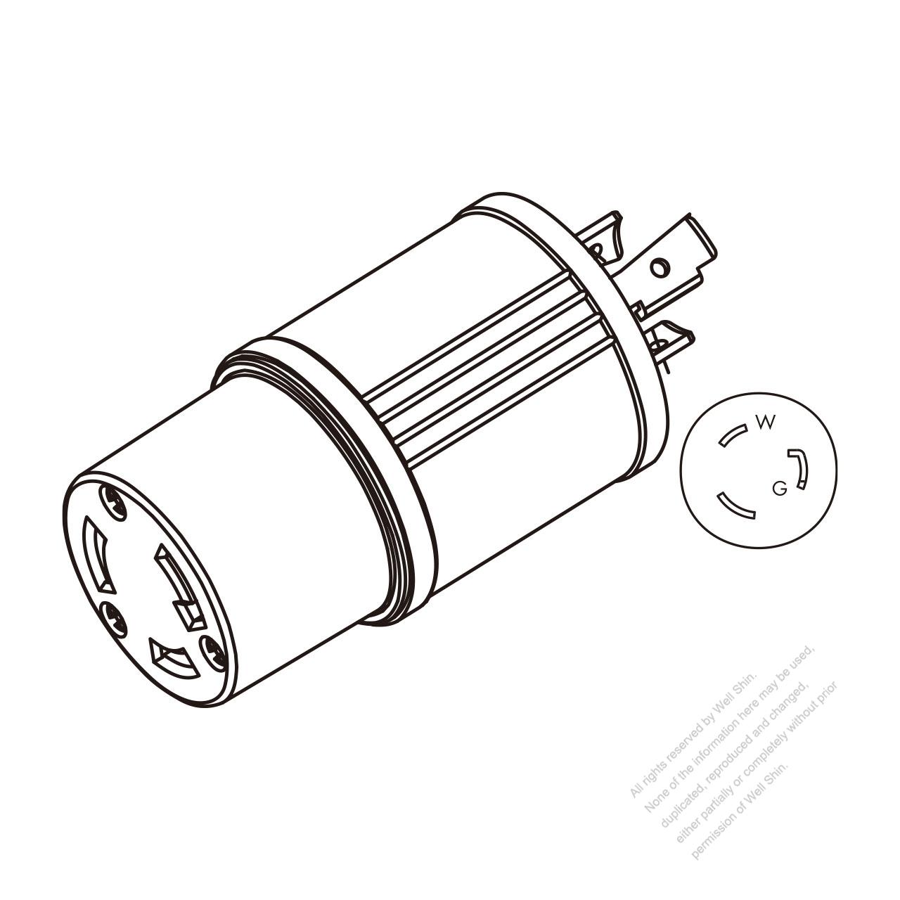 Adapter Plug Nema L5 20p Twist Locking To L5 30r 2 P 3