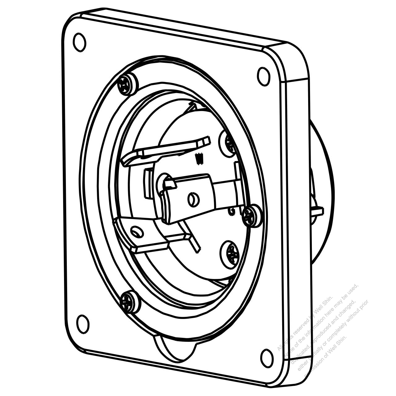 Usa Canada Locking Flanged Inlet Nema L6 30p 2 P 3 Wire Grounding 30a 250v Watertight Inlet