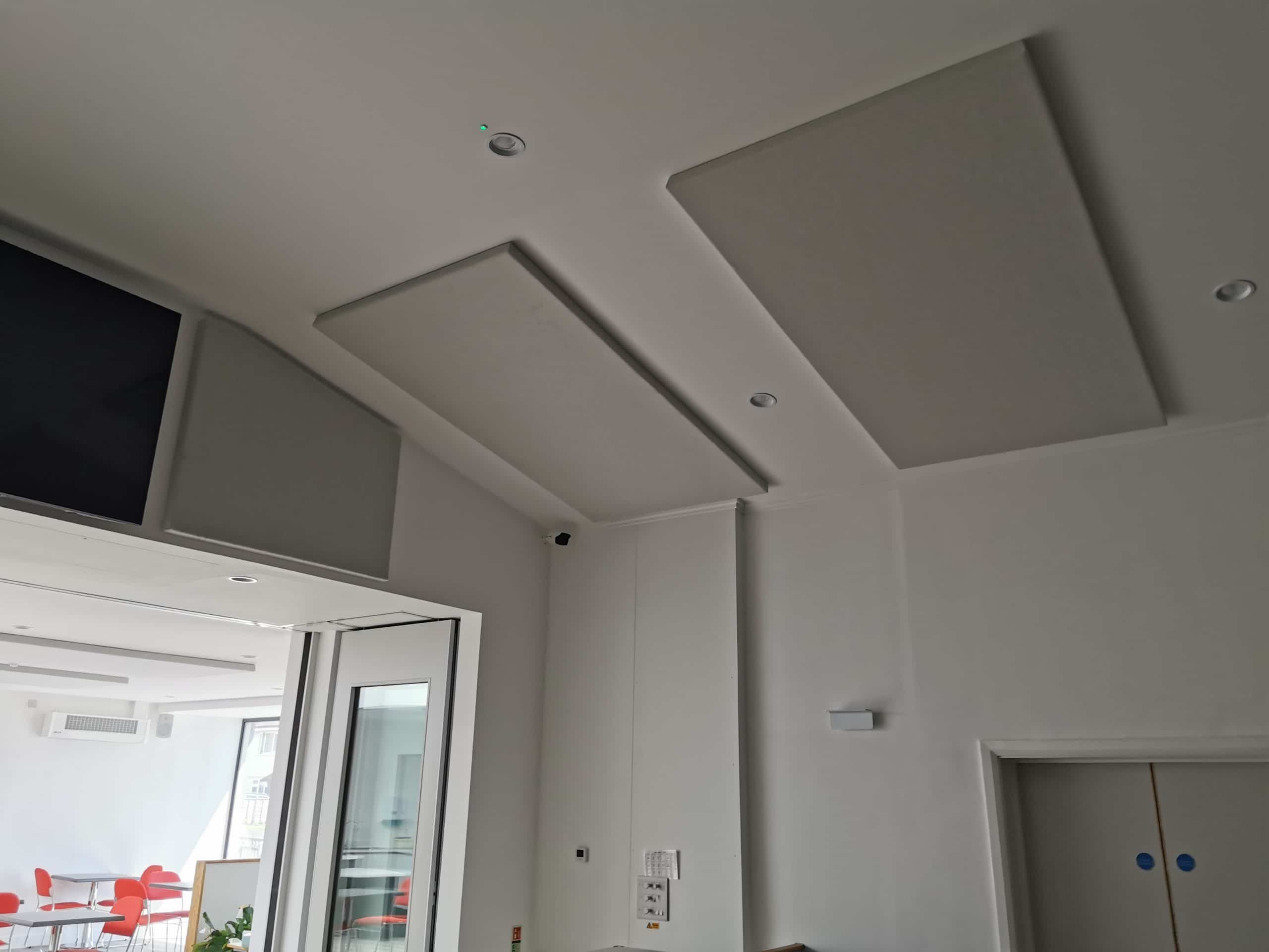 Acoustic sound panels installed during building works
