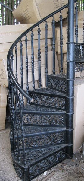 Spiral Staircase Wells Reclamation   Cast Iron Spiral Staircase   Modern   Traditional   Stair Case   Kitchen   Railing