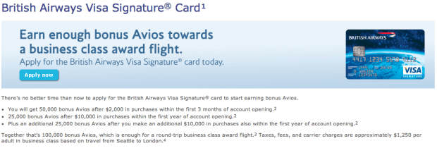 Get 100k Avios after Spending $20,000 in a year