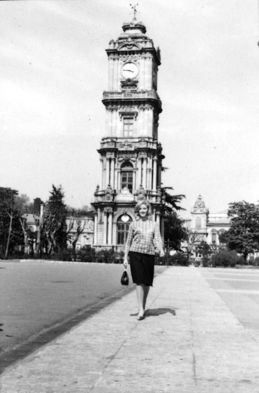 Daniela Bianchi is in front of the famous Dolmabahce Clock Tower.