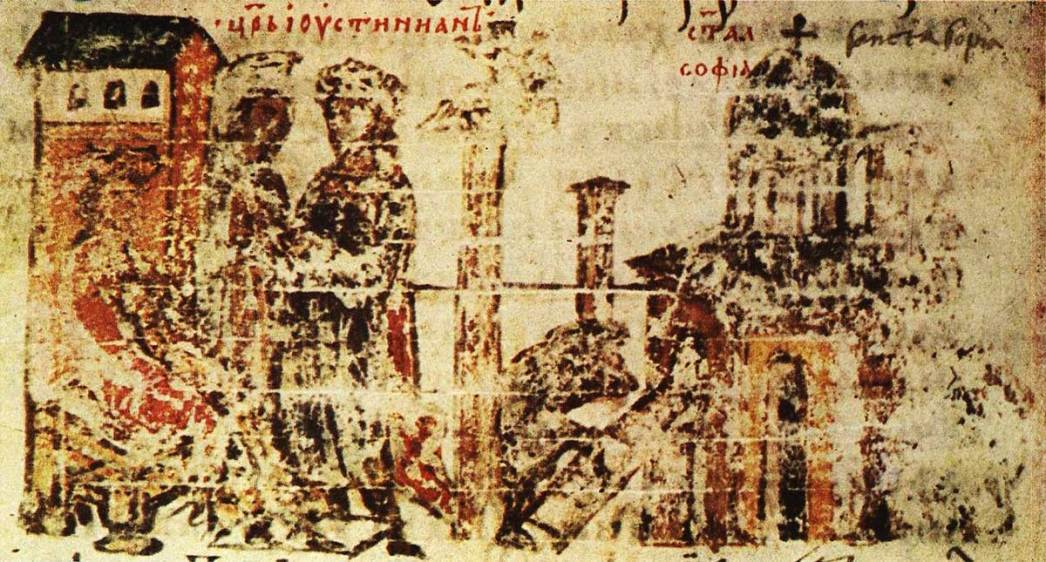 """From Justinian period of the 14th century depicting the construction of a third Byzantine Hagia Sophia writing"" - Chronicle of Manassas"