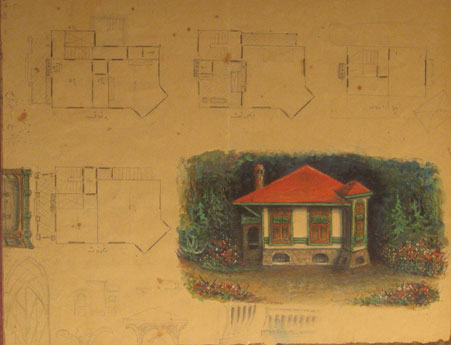 Tevfik Fikret's drawing about the building of Aşiyan Museum