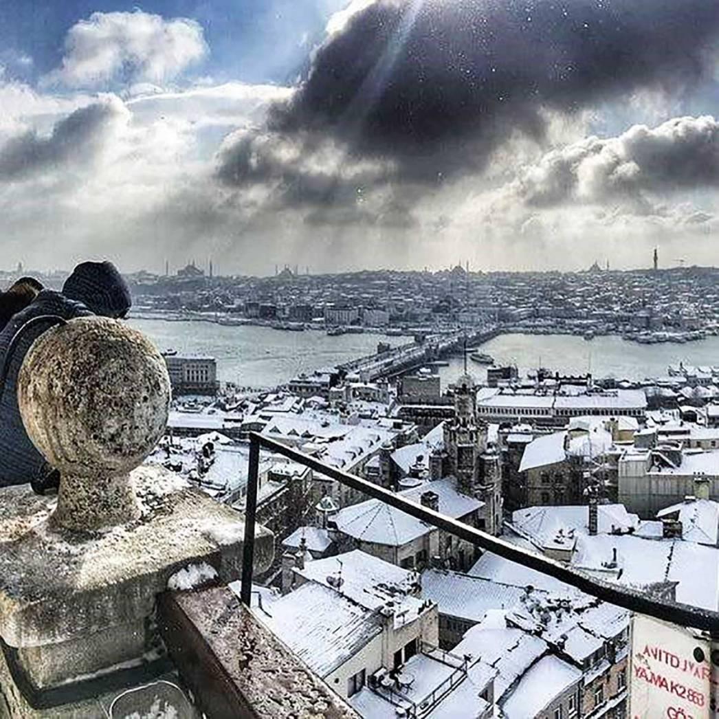 Galata Tower Snow Istanbul