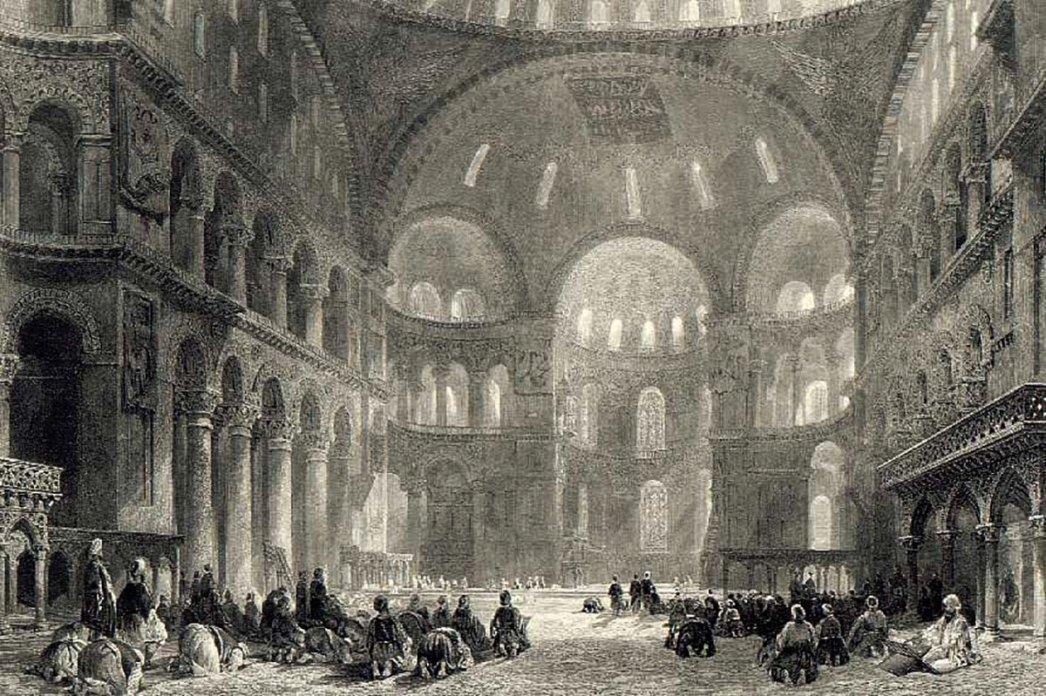 Hagia Sophia and Muslim Prayers by Thomas Allom