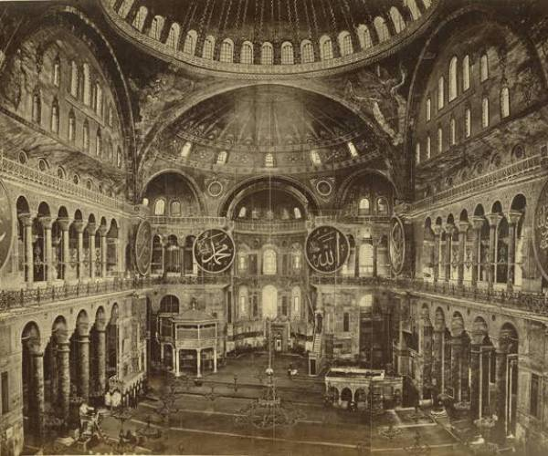 Interior view of the Hagia Sophia, general view, 1860-1870. Note the winged seraphim's in the corners.
