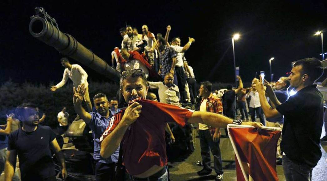 People are standing up to tanks participating in an attempted coup