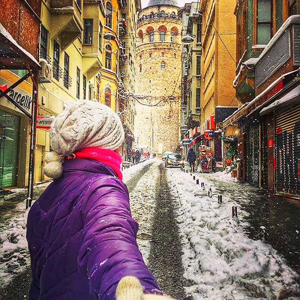 Snowy Streets Galata Tower Istanbul