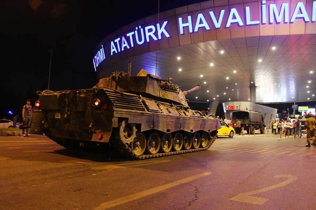 Turkish Military Tanks are in front of Istanbul's Atatürk Airport