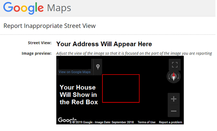 hide street view of your house on google