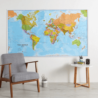 best world map laminated