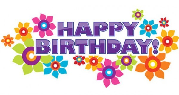 Glossy Floral Happy Birthday Vector Banner WeLoveSoLo