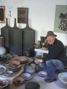 Mick Morgan exhibiting his ceramics at king street gallery