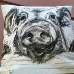 More than just crafters setting up craft fairs - Pig cushion