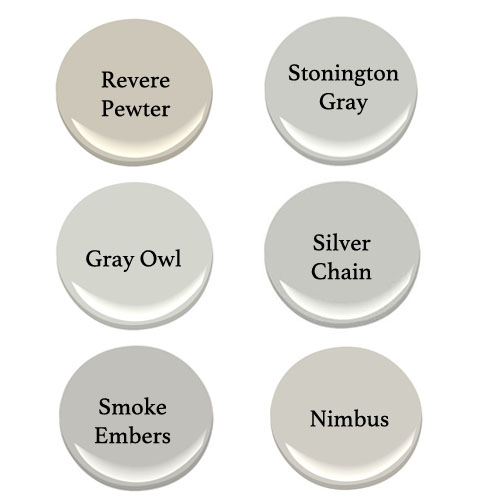 perfect gray paint, Benjamin Moore gray paint, Stonington Gray, Gray Owl, Revere Pewter, Nimbus, Smoke Embers, Silver Chain