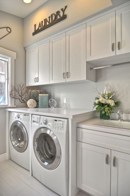 clean simple laundry room