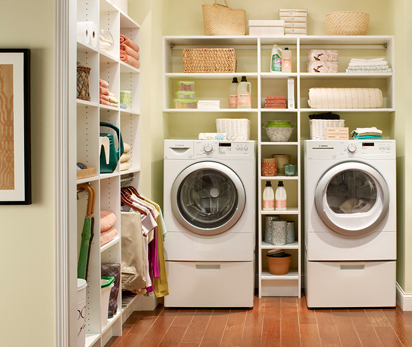 open storage laundry room