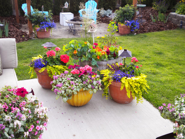 colorful outdoor planters