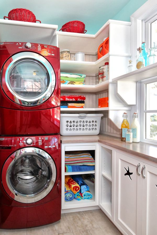 red washer dryer laundry room