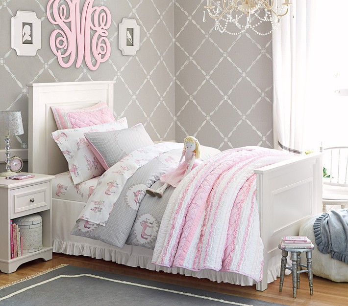 gray wallpaper in girls room