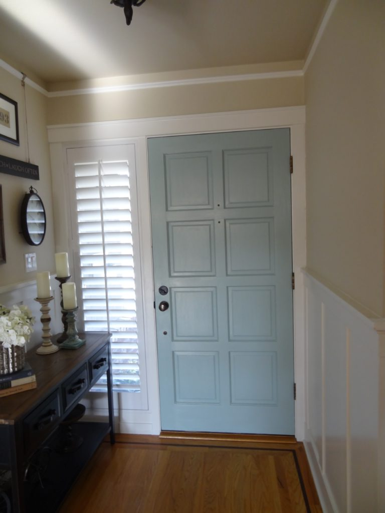 painted interior front door, benjamin moore wythe blue