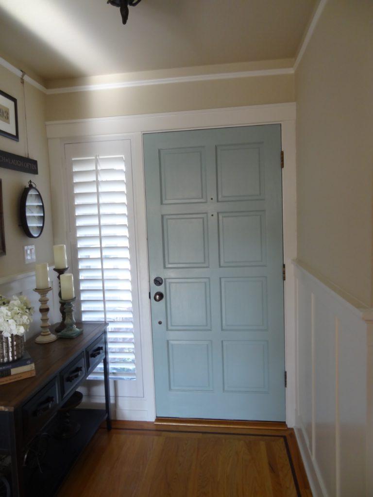painted interior front door, benjamin moore wythe blue