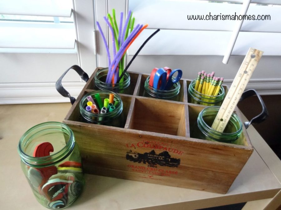 craft supplies in wine crate