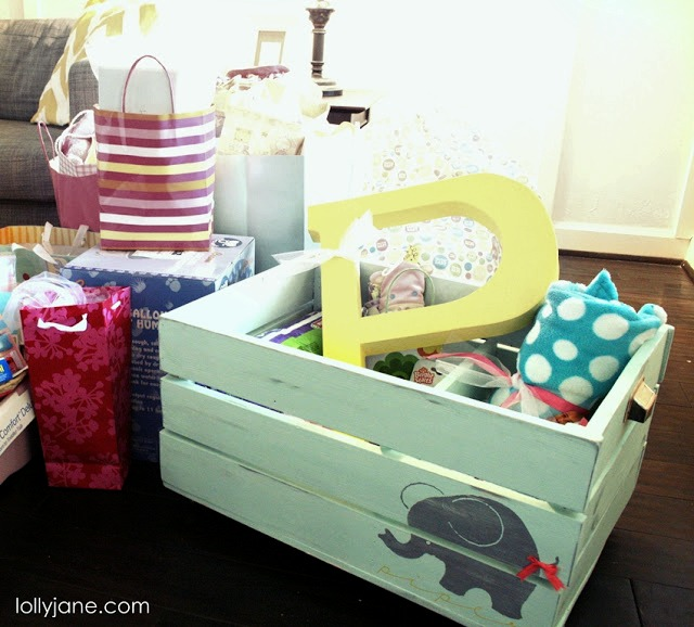 DIY painted wooden toy crate