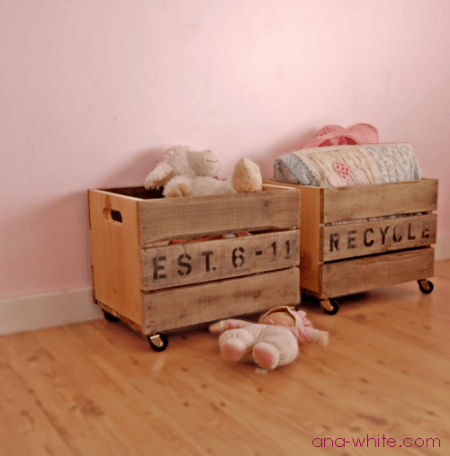 DIY wooden crates on wheels
