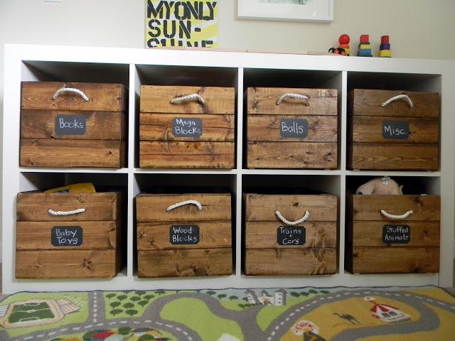 wooden toy storage crates