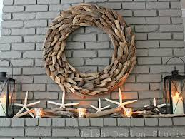 driftwood wreath over fireplace