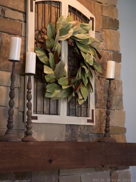 magnolia wreath over fireplace