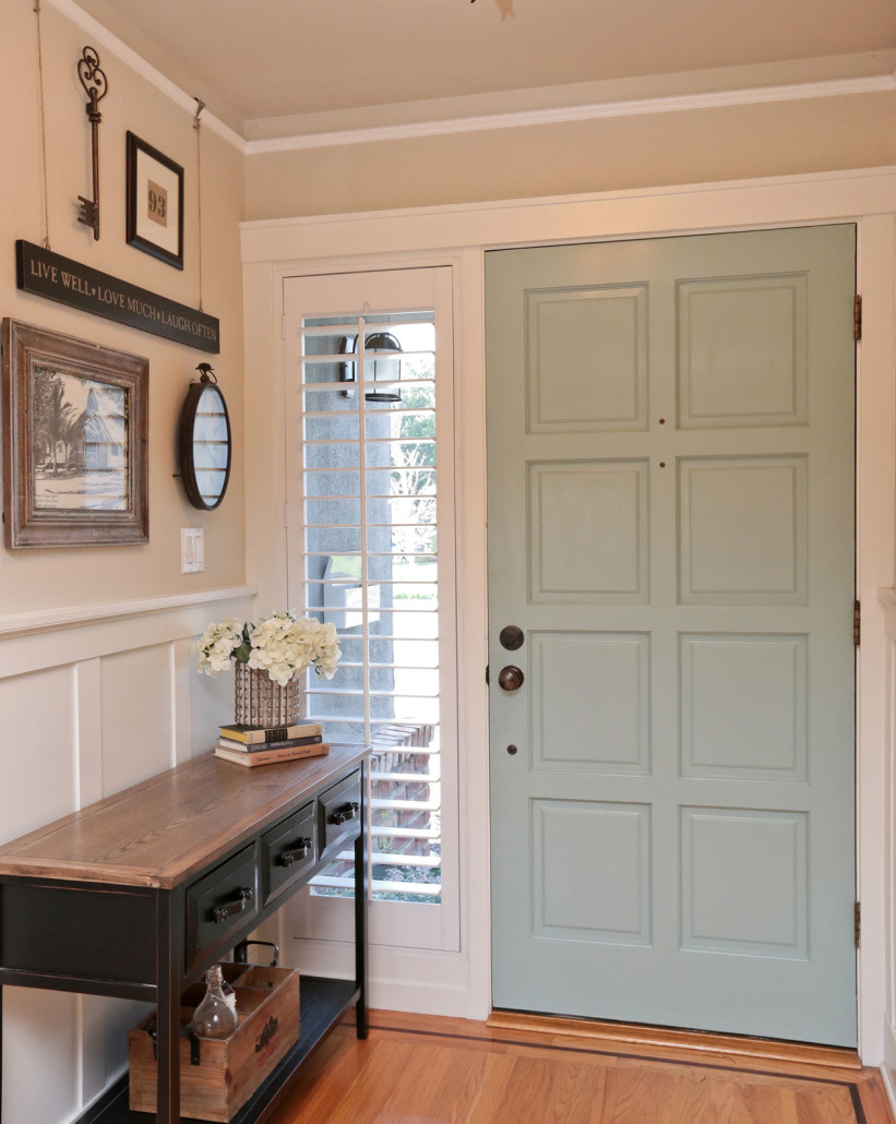 Turquoise painted front door