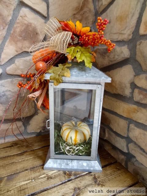 fall lantern decoration with pumpkin