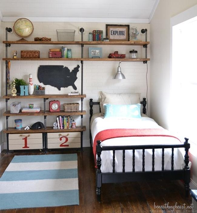 industrial boys bedroom with pipe shelves