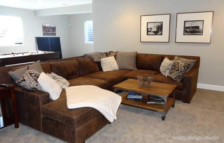 recreation room leather sectional sofa