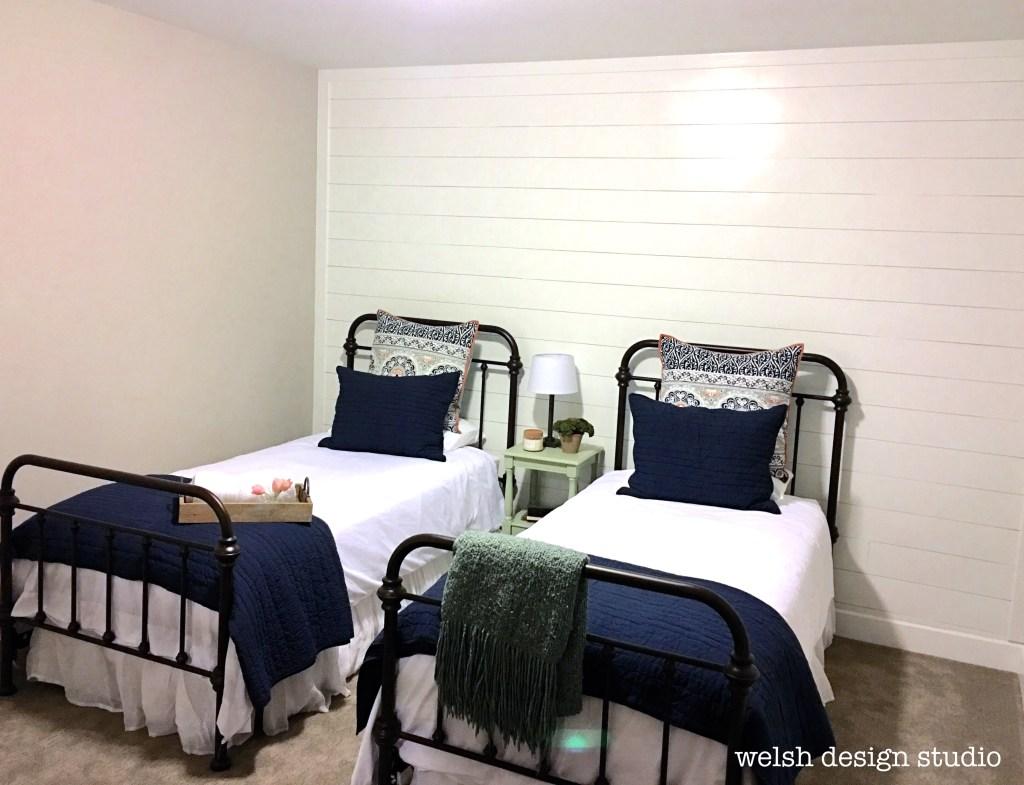 guest room diy shiplap plank wall